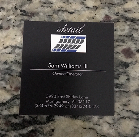 Sam Williams III business card for vehicle detailing in Montgomery, AL.
